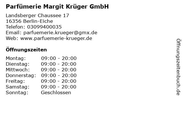 Parfümerie Margit Krüger GmbH in Berlin-Eiche: Adresse und Öffnungszeiten