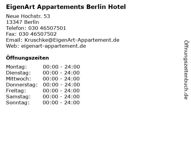 EigenArt Appartements Berlin Hotel in Berlin: Adresse und Öffnungszeiten