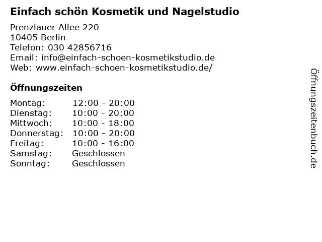 Einfach schön Kosmetik und Nagelstudio in Berlin: Adresse und Öffnungszeiten