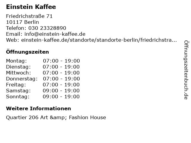 Einstein Kaffee in Berlin: Adresse und Öffnungszeiten