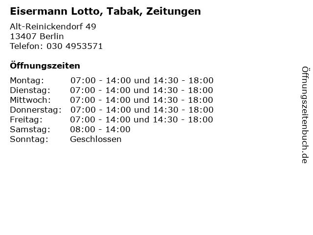 Eisermann Lotto, Tabak, Zeitungen in Berlin: Adresse und Öffnungszeiten