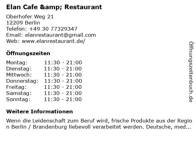 Elan Cafe & Restaurant in Berlin: Adresse und Öffnungszeiten