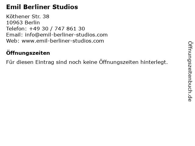 Emil Berliner Studios in Berlin: Adresse und Öffnungszeiten