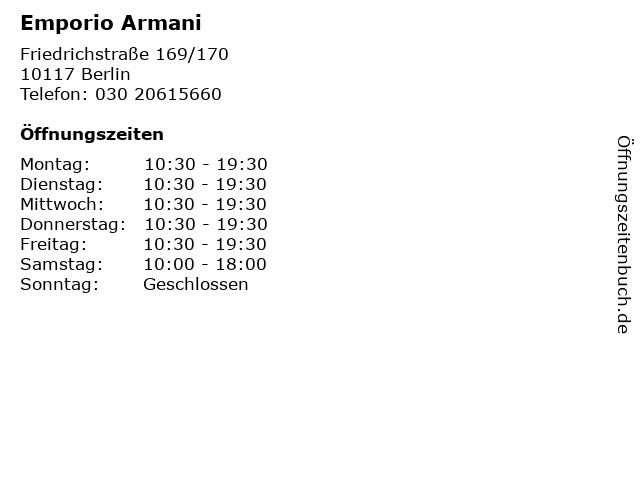 Emporio Armani in Berlin: Adresse und Öffnungszeiten