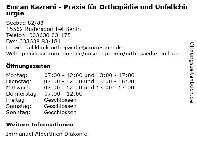 Emran Kazrani in Berlin: Adresse und Öffnungszeiten