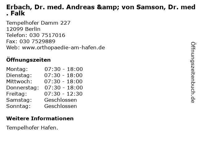 Erbach, Dr. med. Andreas & von Samson, Dr. med. Falk in Berlin: Adresse und Öffnungszeiten