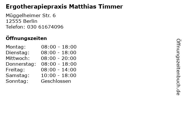 Ergotherapiepraxis Matthias Timmer in Berlin: Adresse und Öffnungszeiten