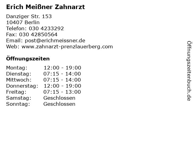 Erich Meißner Zahnarzt in Berlin: Adresse und Öffnungszeiten