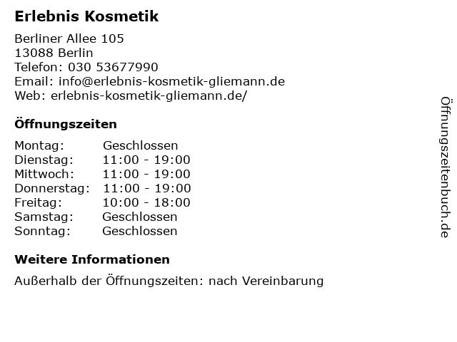 Erlebnis Kosmetik in Berlin: Adresse und Öffnungszeiten