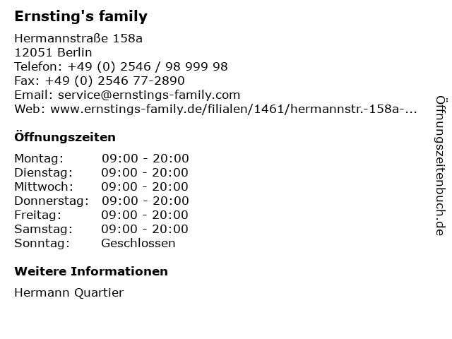 Ernsting's family GmbH & Co. KG in Berlin: Adresse und Öffnungszeiten