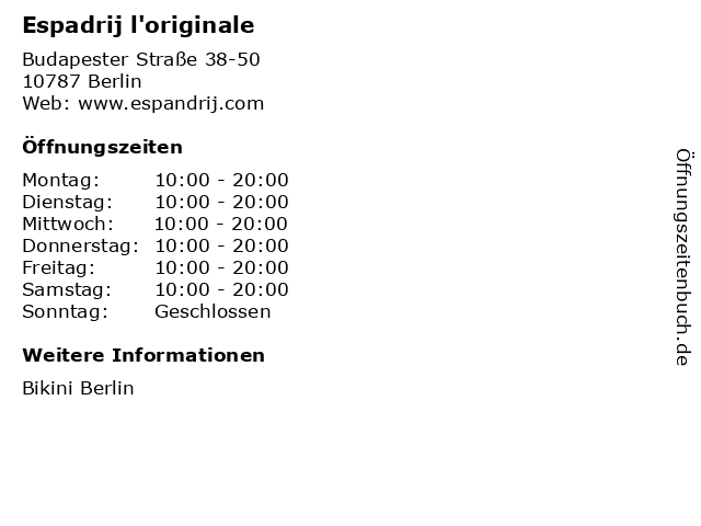 Espadrij l'originale in Berlin: Adresse und Öffnungszeiten