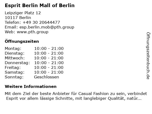 Esprit Berlin Mall of Berlin in Berlin: Adresse und Öffnungszeiten