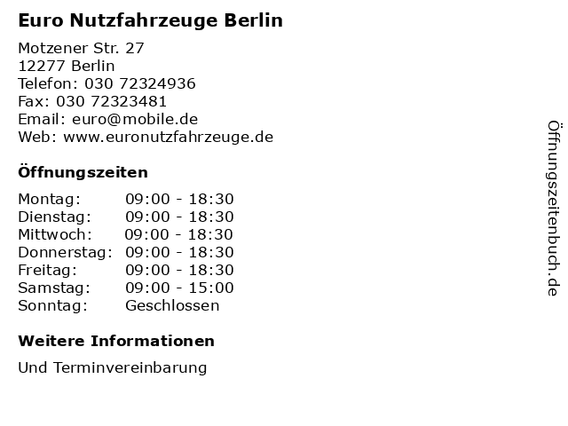 ᐅ öffnungszeiten Euro Nutzfahrzeuge Berlin Motzener Str 27 In
