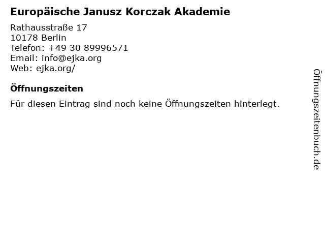 Europäische Janusz Korczak Akademie in Berlin: Adresse und Öffnungszeiten
