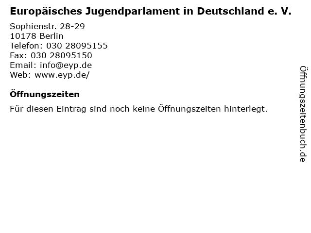 Europäisches Jugendparlament in Deutschland e. V. in Berlin: Adresse und Öffnungszeiten