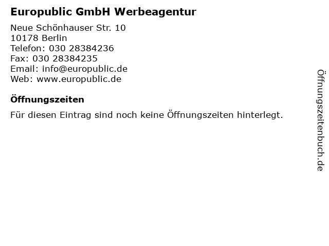Europublic GmbH Werbeagentur in Berlin: Adresse und Öffnungszeiten