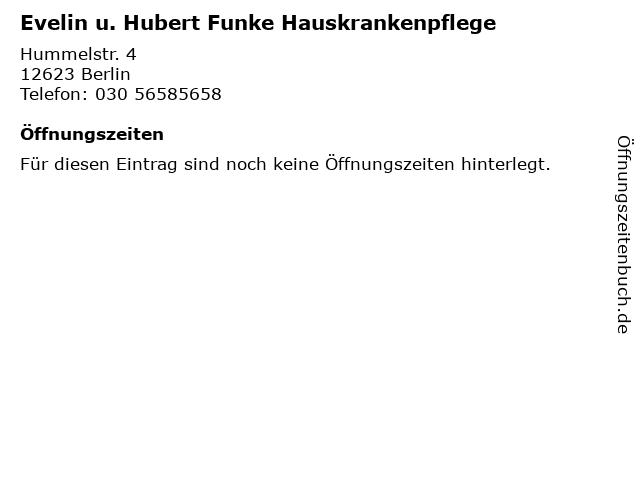 Evelin u. Hubert Funke Hauskrankenpflege in Berlin: Adresse und Öffnungszeiten