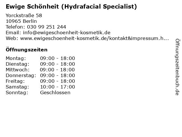 Ewige Schönheit (Hydrafacial Specialist) in Berlin: Adresse und Öffnungszeiten