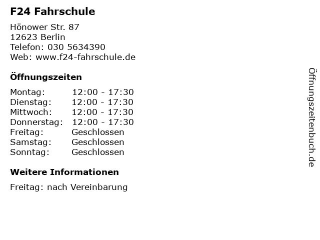 F24 Fahrschule in Berlin: Adresse und Öffnungszeiten