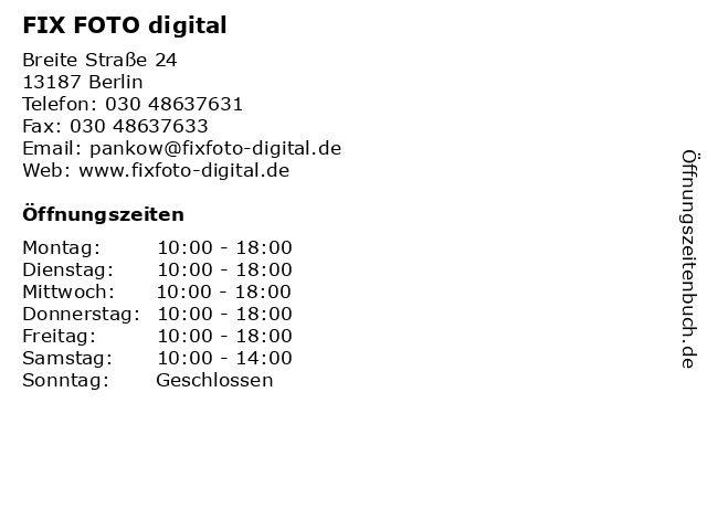 FIX FOTO digital Schwandt & Otto Foto GmbH in Berlin: Adresse und Öffnungszeiten