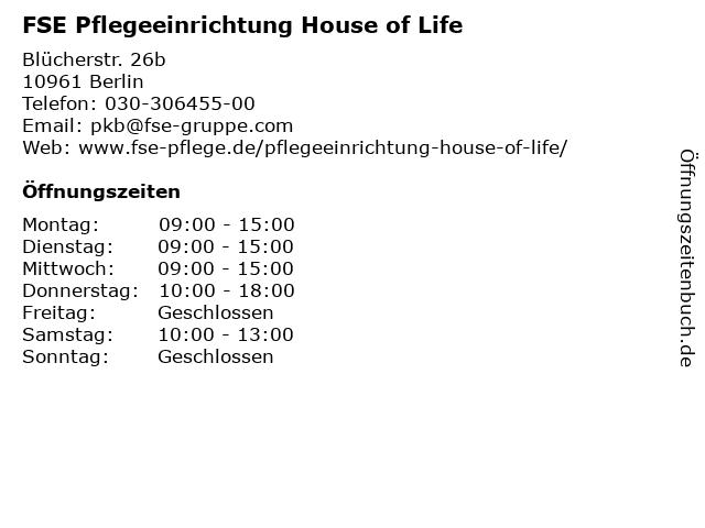 FSE Pflegeeinrichtung House of Life in Berlin: Adresse und Öffnungszeiten