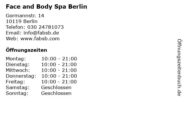 Face and Body Spa Berlin in Berlin: Adresse und Öffnungszeiten