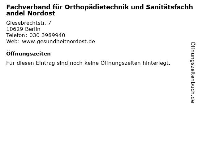 Fachverband für Orthopädietechnik und Sanitätsfachhandel Nordost in Berlin: Adresse und Öffnungszeiten