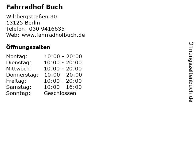 Fahrradhof Buch in Berlin: Adresse und Öffnungszeiten