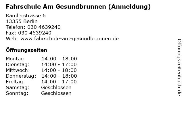 Fahrschule Am Gesundbrunnen (Anmeldung) in Berlin: Adresse und Öffnungszeiten