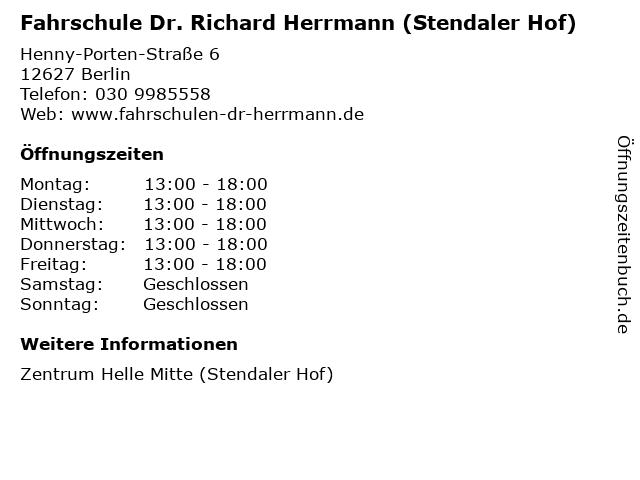 Fahrschule Dr. Richard Herrmann (Stendaler Hof) in Berlin: Adresse und Öffnungszeiten