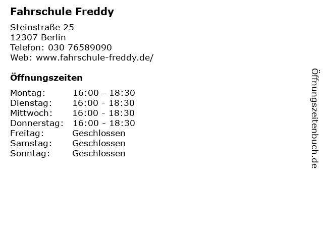 Fahrschule Freddy in Berlin: Adresse und Öffnungszeiten