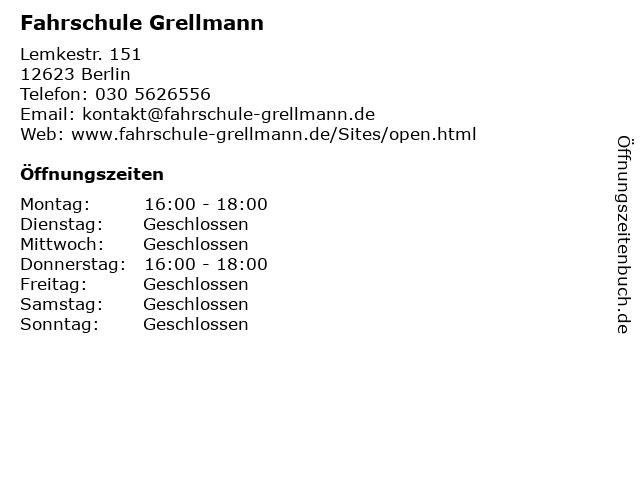 Fahrschule Grellmann in Berlin: Adresse und Öffnungszeiten