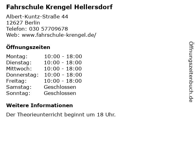 Fahrschule Krengel Hellersdorf in Berlin: Adresse und Öffnungszeiten