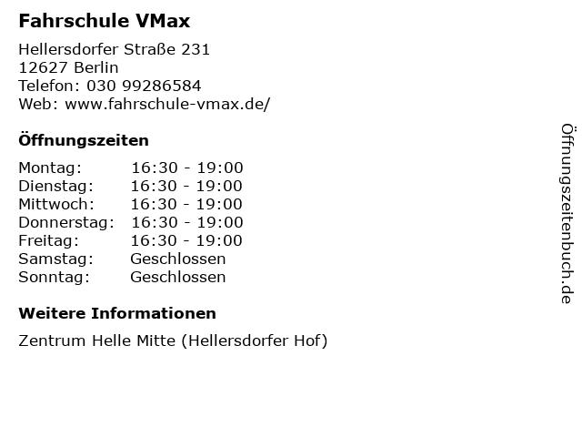 Fahrschule VMax in Berlin: Adresse und Öffnungszeiten