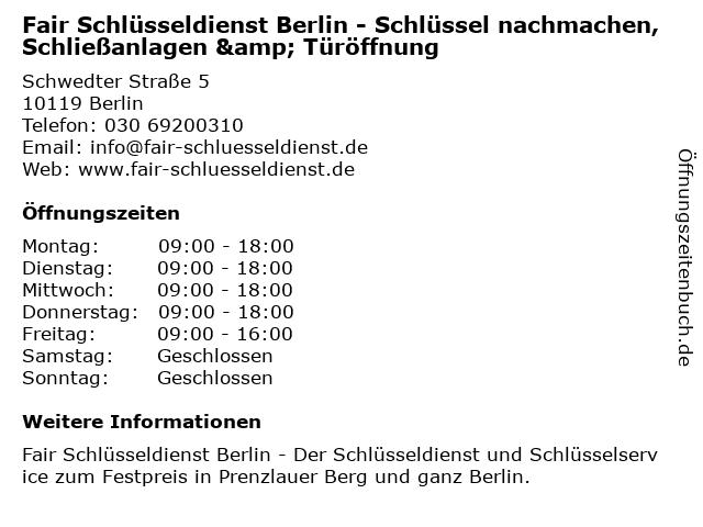 ᐅ Offnungszeiten Fair Schlusseldienst Berlin Schlussel