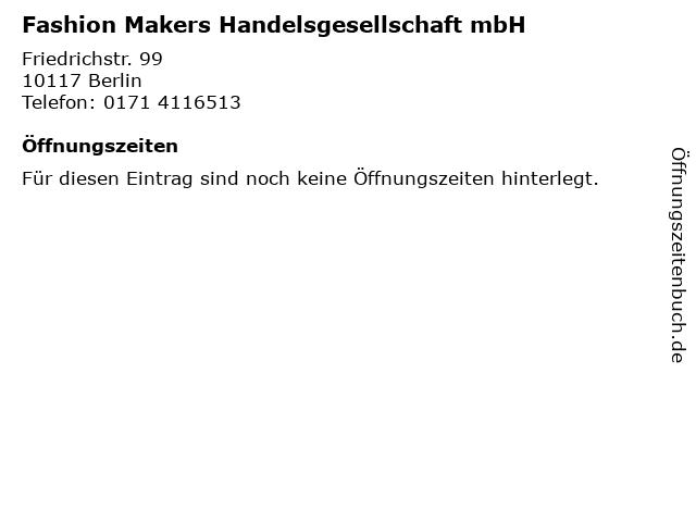 Fashion Makers Handelsgesellschaft mbH in Berlin: Adresse und Öffnungszeiten