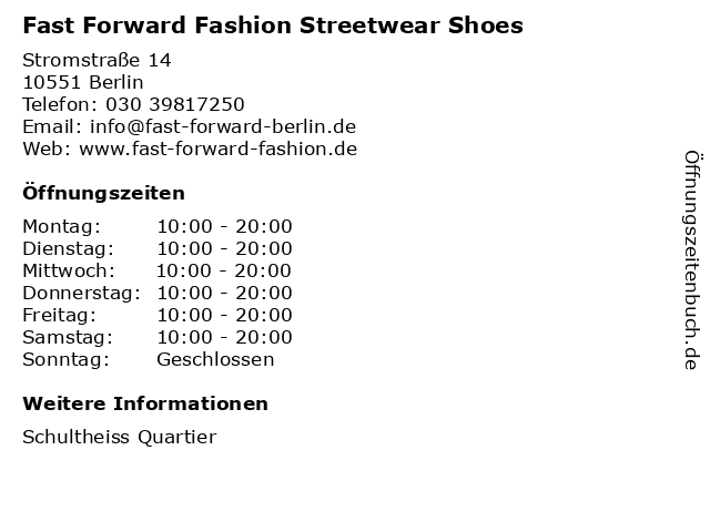 Fast Forward Fashion Streetwear Shoes in Berlin: Adresse und Öffnungszeiten
