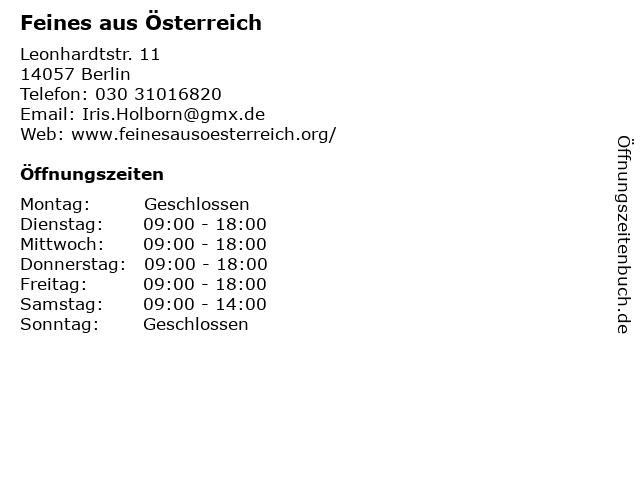 Feines aus Österreich in Berlin: Adresse und Öffnungszeiten