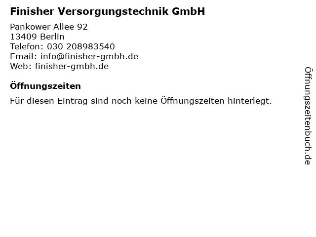 Finisher Versorgungstechnik GmbH in Berlin: Adresse und Öffnungszeiten