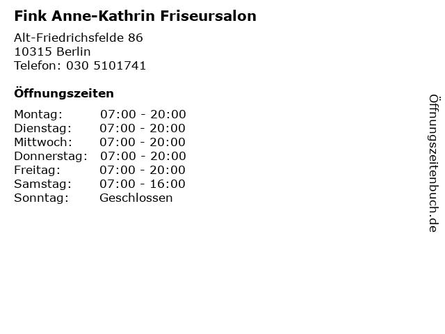 Fink Anne-Kathrin Friseursalon in Berlin: Adresse und Öffnungszeiten