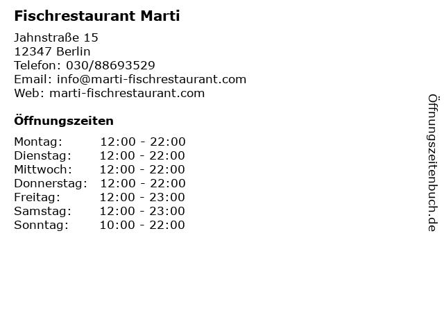 Fischrestaurant Marti in Berlin: Adresse und Öffnungszeiten