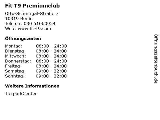 Fit T9 Premiumclub in Berlin: Adresse und Öffnungszeiten