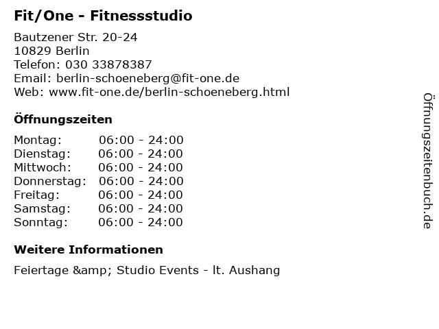 Fit/One - Fitnessstudio in Berlin: Adresse und Öffnungszeiten