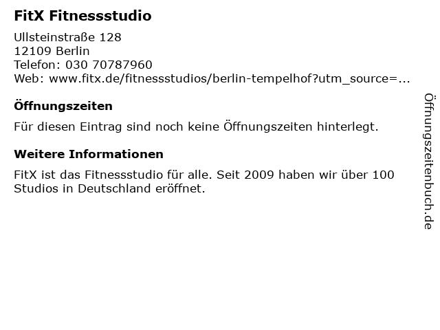FitX Fitnessstudio in Berlin: Adresse und Öffnungszeiten