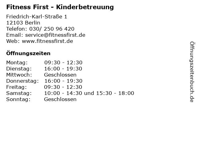 Fitness First - Kinderbetreuung in Berlin: Adresse und Öffnungszeiten