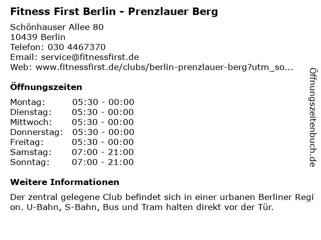 Fitness First Lifestyle Club Berlin - Prenzlauer Berg in Berlin: Adresse und Öffnungszeiten