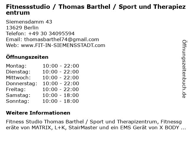Fitnessstudio / Thomas Barthel / Sport und Therapiezentrum in Berlin: Adresse und Öffnungszeiten