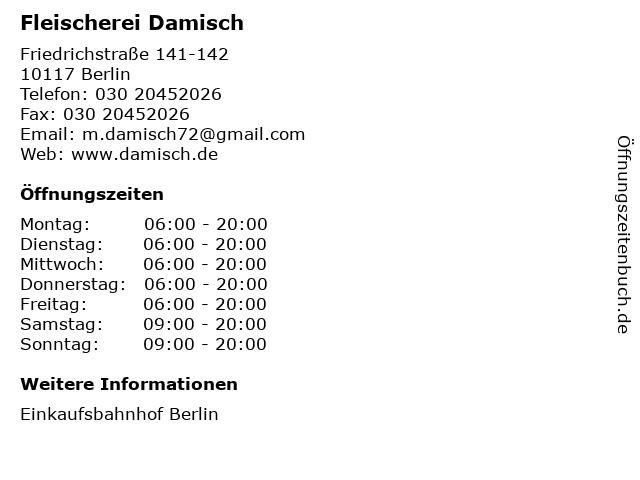 Fleischerei Damisch in Berlin: Adresse und Öffnungszeiten