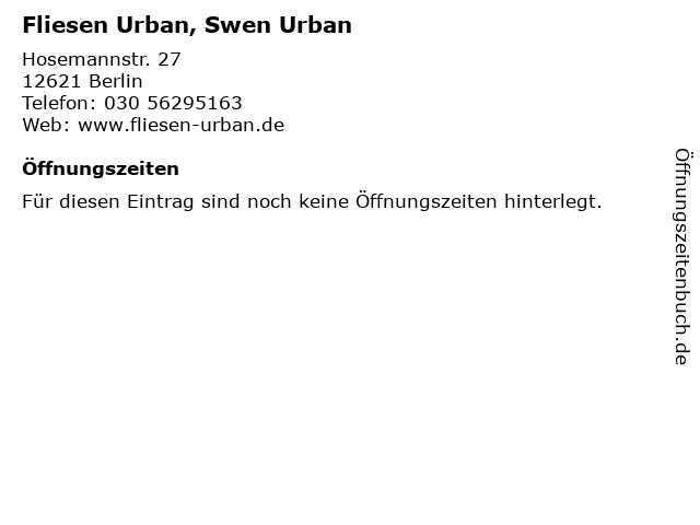 Fliesen Urban, Swen Urban in Berlin: Adresse und Öffnungszeiten