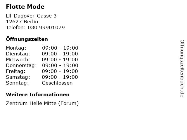 Flotte Mode in Berlin: Adresse und Öffnungszeiten